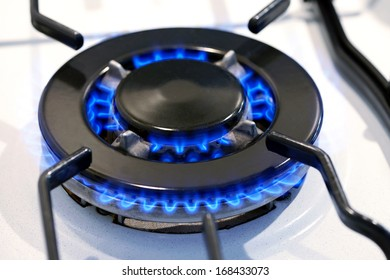 Burning gas ring on a domestic stove top