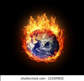 Burning globe earth (east hemisphere) - version with glowing (elements furnished by NASA)