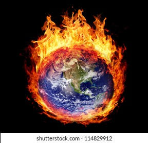 Burning globe earth (west hemisphere) - version without glowing (elements furnished by NASA)