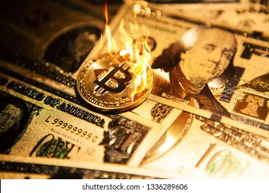 Burning golden bitcoin cryptocurrency on golden US dollars.