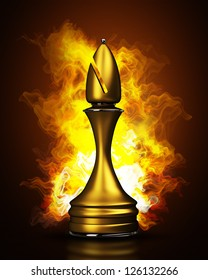Burning golden chess officer in Fire. High resolution. 3D image