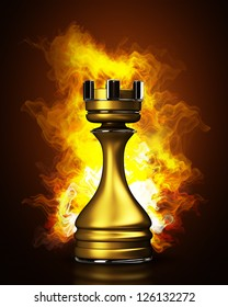 Burning golden chess rook in Fire. High resolution. 3D image