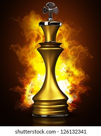 Burning golden King in Fire. High resolution. 3D image