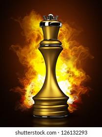 Burning golden Queen in Fire. High resolution. 3D image