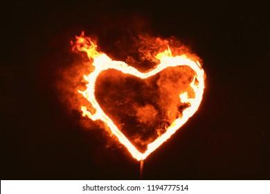 burning heart of fire in the dark, love