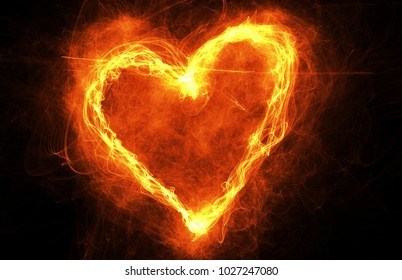 Burning heart on dark background. Heart-shaped ring of fire with copyspace. Frame for love, romance and Valentines Day Card
