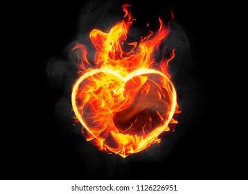 burning heart shape with blazing flame on black background