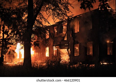 burning house in the darkness
