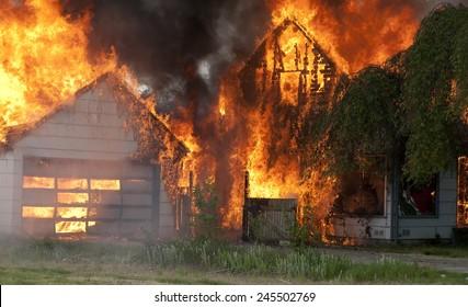 burning house and garage