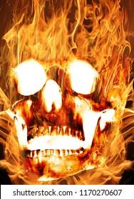Burning human skull. Horror photomanipulation