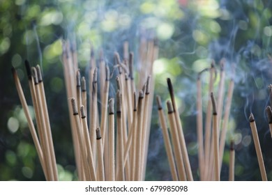 Large Incense Stick Burning at a Chinese Temple Images
