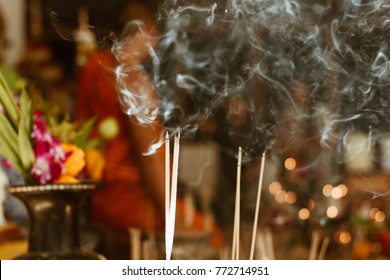 Burning of Incense stick at Buddhist temple