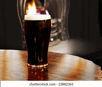 Burning Irish black beer. Shot inside a Dublin pub.