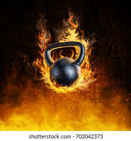 Burning kettlebell concept / 3D render of heavy metal kettlebell in flames