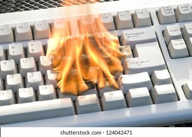 Burning Keyboard of a PC