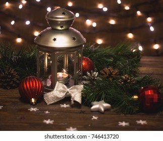 burning lantern and christmas decoration on white background - How To Decorate A Lantern For Christmas