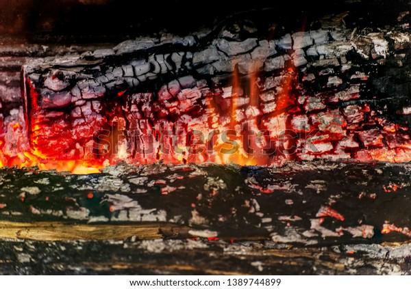 Burning Log Wood Closeup Abstract Background Royalty Free