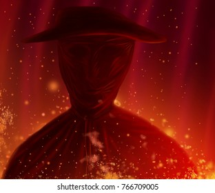 Burning man portrait illustration. Character in hat stands on fire. Colored digital painting.