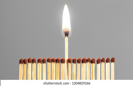 Burning match among others on isolated background. Difference and uniqueness concept.