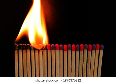 Burning matches standing in a row one by one. Damage is unavoidable