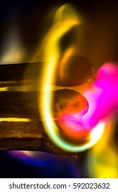 Burning Matchstick with spectacular and colorful flames