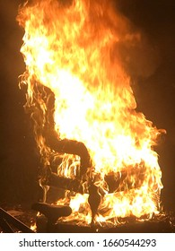 Burning an old haunted chair