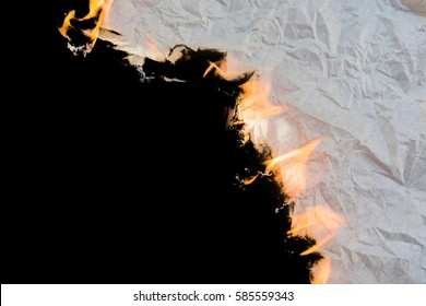 Burning paper background Black