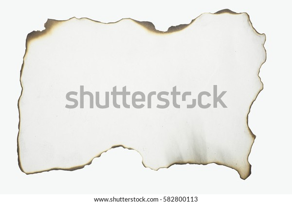Burning paper on a white background.