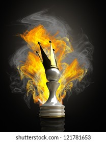 Burning Pawn in a golden crown 3d illustration. high resolution