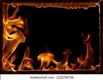 burning rectangular frame isolated on black background