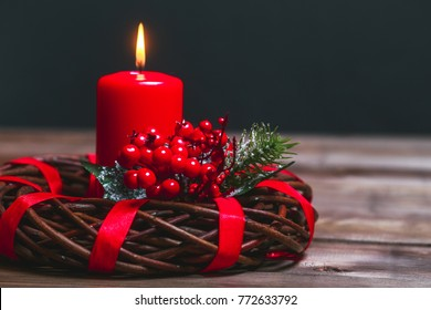 Burning red candle and Christmas decoration on wooden background, Candels With Christmas Decoration