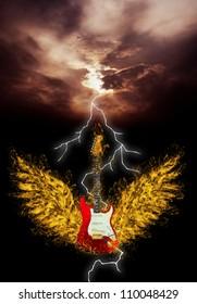 burning red guitar 3