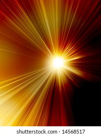 burning red sun with bright rays of light