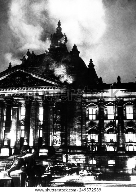 The burning Reichstag in February 27, 1933. The fire broke out simultaneously in 20 places, enabling Hitler to seize power under the pretext of 'protecting' Germany.