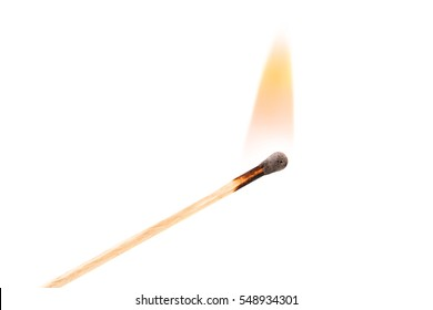 Burning safety-match with red, orange, yellow fire. Isolated on white background.  Burning match in male hand. Burning match detail on white background. Burning match-stick detail.