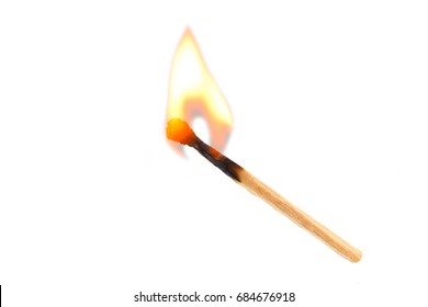 Burning safety-match with red, orange, yellow fire. Isolated on white background