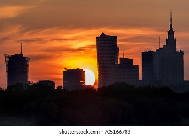 Burning sky during sunset over Warsaw city, Poland