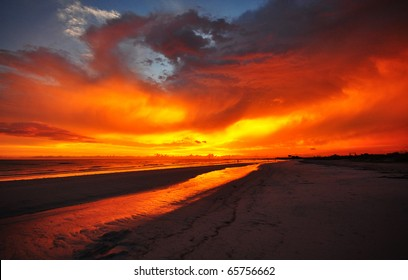 Burning sky over Honeymoon Island State Park