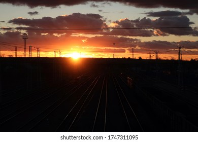Burning sky sunset at Inza railway station, Russia