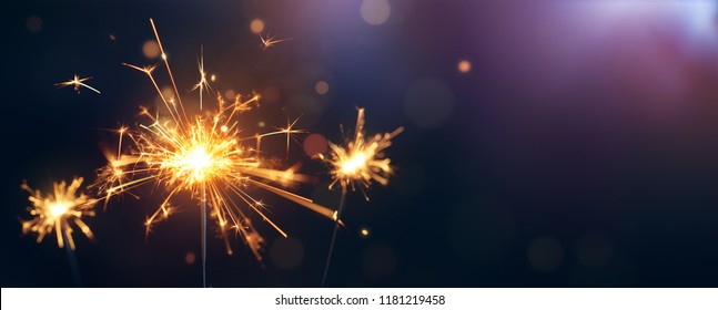 Burning sparkler, Happy New Year