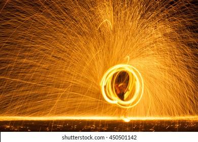 Burning Steel Wool spinning.