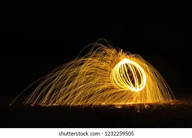 Burning Steelwool Bowl Shape