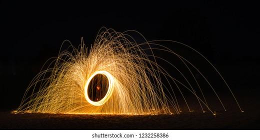 Burning Steelwool Clockwise Beach Pat