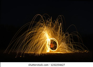 Burning Steelwool Counterclockwise 90degrees Cis Framed