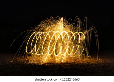 Burning Steelwool Spiral With Gaps