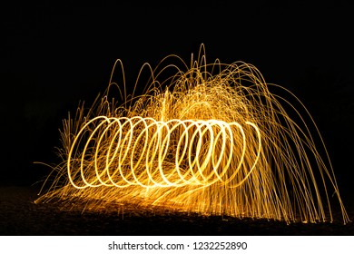 Burning Steelwool Spiral shape