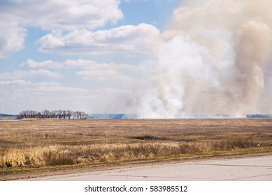 Burning the steppe during the spring drought. Grassroots Prairie fire. Burns dry grass