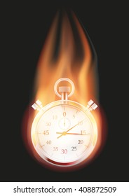 Burning Stopwatch with a tail of flame