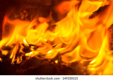 Burning stove, close-up photo
