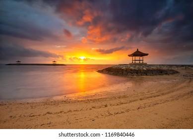 Burning Sunrise at Karang Beach, Sanur, Bali, Indonesia